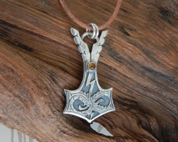Jörmungandr Style Silver Thor's Hammer Pendant with Amber