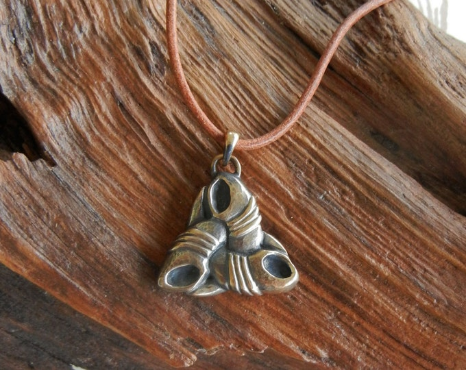 Odin's Triple Horn Pendant in Bronze