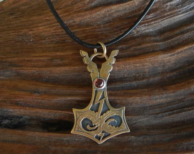 Jörmungandr Style Bronze Thor's Hammer Pendant with Garnet