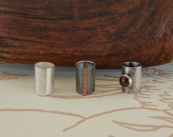 Reticulated Silver, Bronze or Garnet and Silver Beads for Beards or Hair // Made to Order
