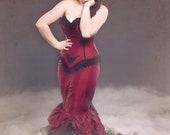 "Vampire Dress Gothic Bridal Gown Dark Fairy Red Wedding Dress Goth Steampunk Alternative Bridal Unique ""Goth Mermaid Gown"" Custom Order"