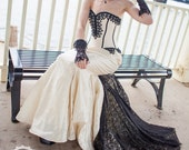 Mermaid Wedding Dress Goth Bridal Gown Unique Gothic Corset Steampunk Couture Dark Dance Custom to Order Petite to Plus Size