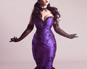 "Gothic Purple Wedding Dress Fit and Flare Mermaid Masquerade Corset Black Lace Overlay Unique Bridal ""Elegant Midnight"" Petite Plussize"