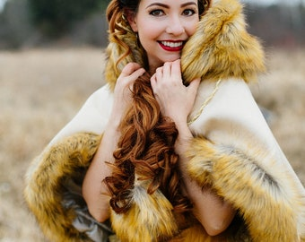 54f65f8138c Beauty and The Beast Disney Wedding Cape Faux Fur Wool Capelet Bridal  Winter Wrap Belle Cosplay - Choose Color Custom to order