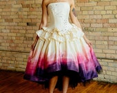 Ombre Wedding Dress Woodland Fairy Costume Alternative High Low Dress Unique Pink Purple Short Gown Custom to Order