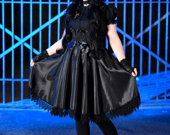 Witch Dress High Waisted Jumper Skirt Goth Kawaii Gothic Lolita JSK with Bustle Pulls Petite to Plus Size Custom to Order