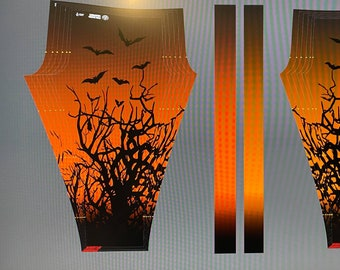 LIMITED Witchy Leggings with Bats Twilight Orange Ombre Sublimation Dyed Spooky Halloween Tights Petite to Plus Size