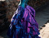 Steampunk Bustle with Ruffle Detachable Burlesque Mardi Gras Half Skirt Victorian Costume Petite to Plus size Custom to Order ONE Size