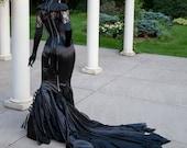Goth Queen Mermaid Gown Black Fetish Alternative Wedding Dress BDSM Drag Corset Morticia Addams Costume - Custom to Order