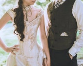 Alternative Wedding Dress Unique Victorian Bustle Gown Cream Steampunk Corset Off the Shoulder Custom to Any Size