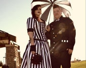 "Tim Burton Gothic Wedding Dress Jack Skellington Black Stripe Victorian Steampunk Costume Corset Dress "" Night Circus Dress """