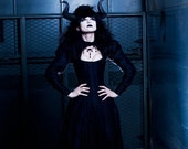 Goth Black Dragon Gothic Wedding Dress Vampire Dominatrix Fetish Corset Long Sleeve Bridal Gown Alternative Custom to Order