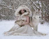 Viking Queen Wedding Dress Unique Faux Fur Trimmed Coat Gown Sansa Stark Cosplay Game of Thrones Costume - Custom to Order