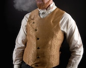 "Steampunk Vest Mens Waistcoat Asymmetrical Vest Gold Victorian Wedding Groom Costume Dapper ""Moon Vest"" Custom to Order"