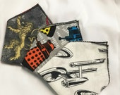 "Geeky Pocket Square- Handkerchief Groomsmen Gift - Star Trek - Nerd Wedding - Superman - Marvel - Dalek - Game of Thrones ""Geek Squares"""