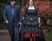 High Low Gothic Black Wedding Dress Unique Alternative Steampunk Gown Goth Corset Dress Custom to Order