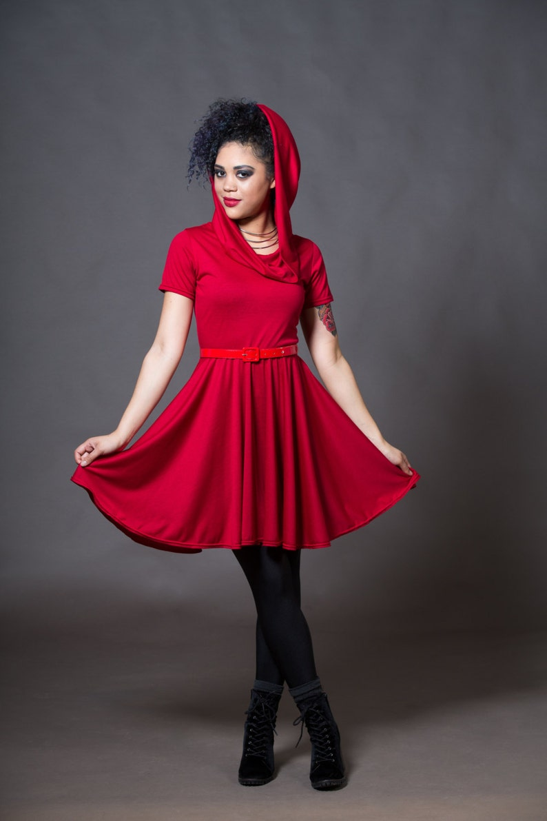 Red Skater Dress Hooded Cowl Neckline Riding Hood Casual Short Sleeve Work  Dress Petite to Plus Size Custom to Order