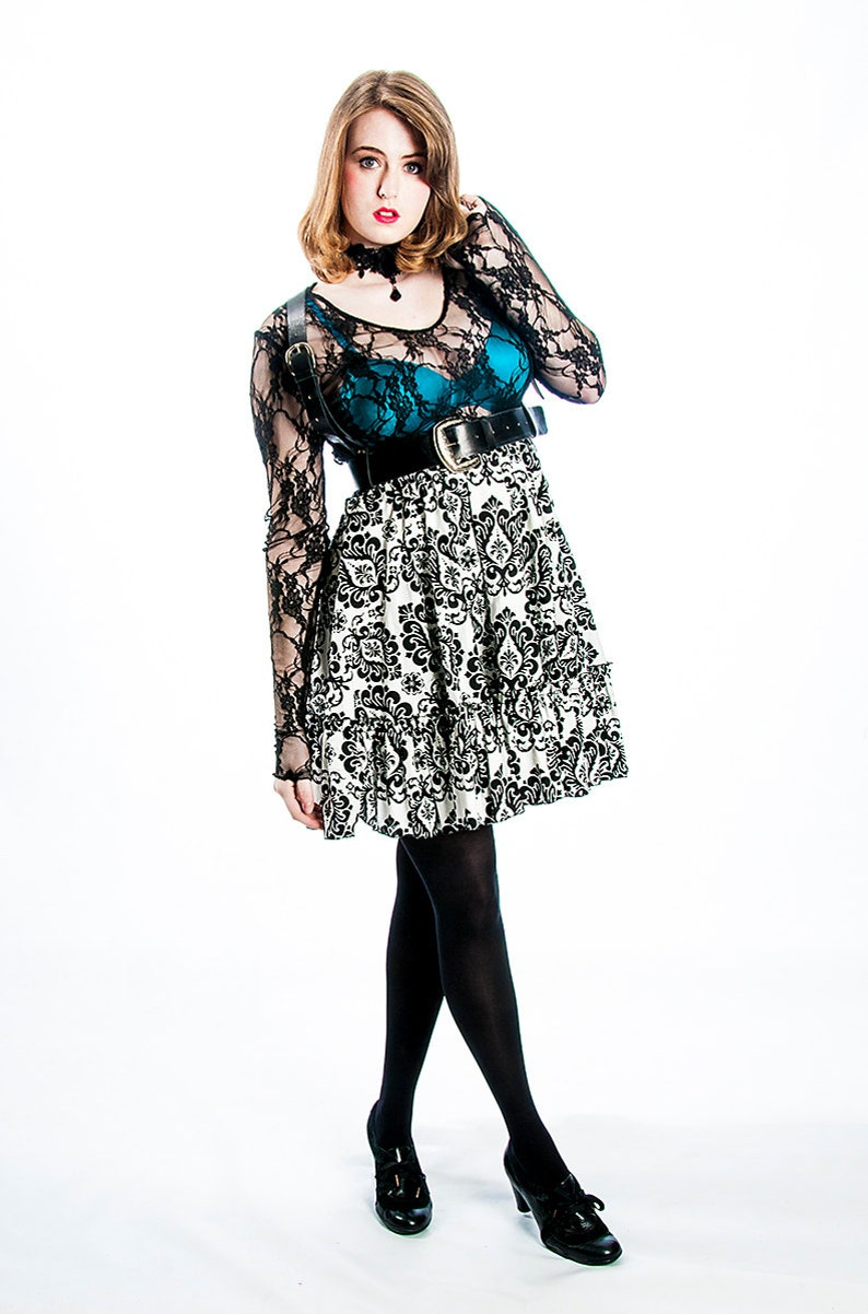 63d8ff68f010e Goth Shirt Sheer Lace Top Gothic Clothing Witchy Shirt