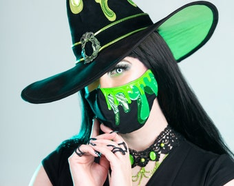 Poison Slime Drip Mask Fancy Steampunk Cuthulu Face Masks with Filter Pocket Fitted 100% Cotton Monster Covering