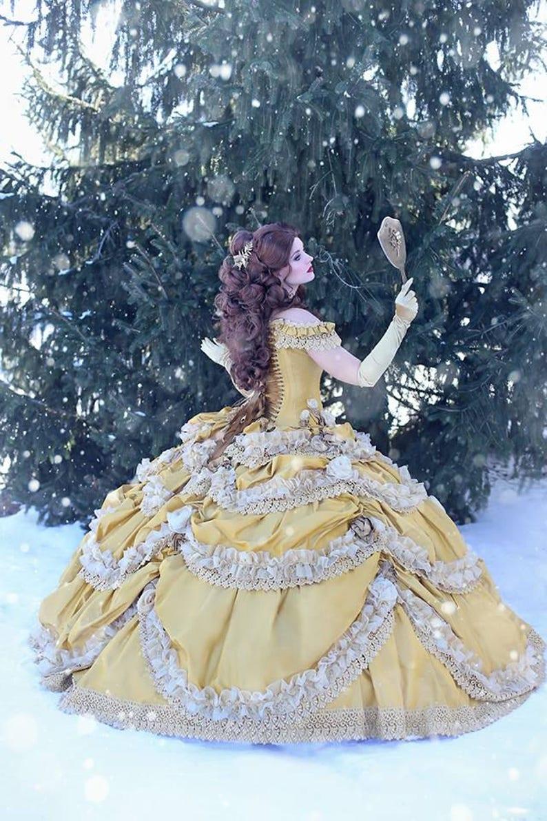 Disney Wedding Dress.Beauty And The Beast Wedding Dress Couture Belle Dress Corset Faitytale Gown Disney Wedding Belle Gown Custom Petite To Plus
