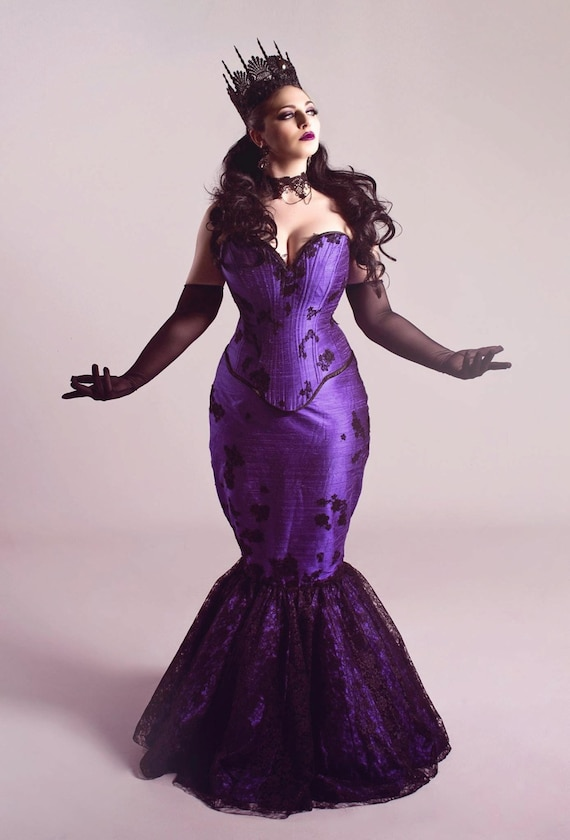 Gothic Purple Wedding Dress Fit and Flare Mermaid Masquerade Corset Black  Lace Overlay Unique Bridal Petite Plussize - Custom to Order