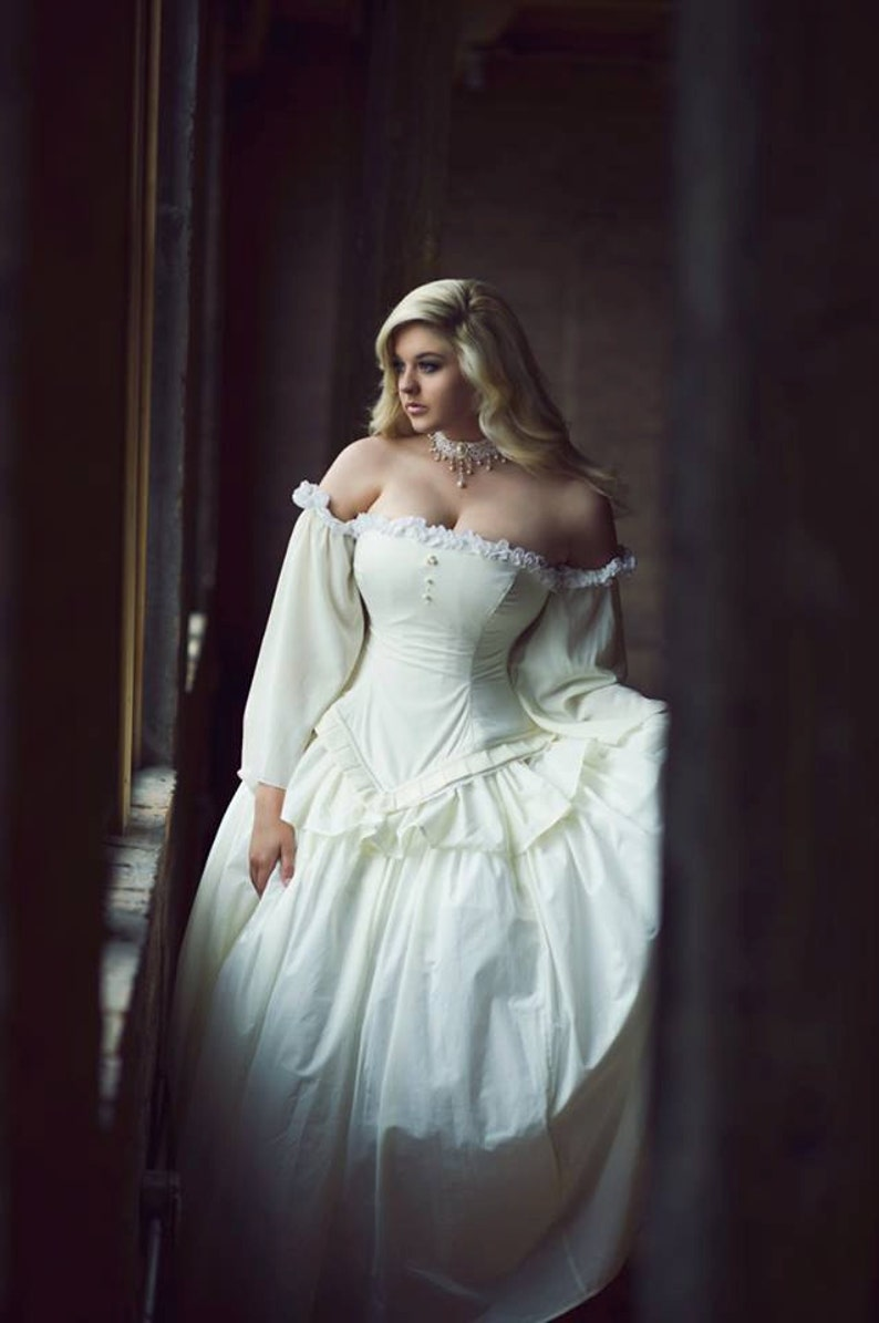 Fairytale Wedding Dress Disney Ballgown Unique Wedding Dress Plus Size Long  Sleeve Corset Dress Custom to Order
