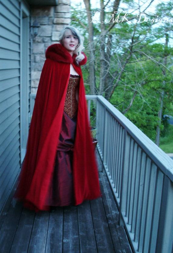 Soft Satin Little Red Riding Hood Cape /& Hood Fairytale Halloween Fancy Dress