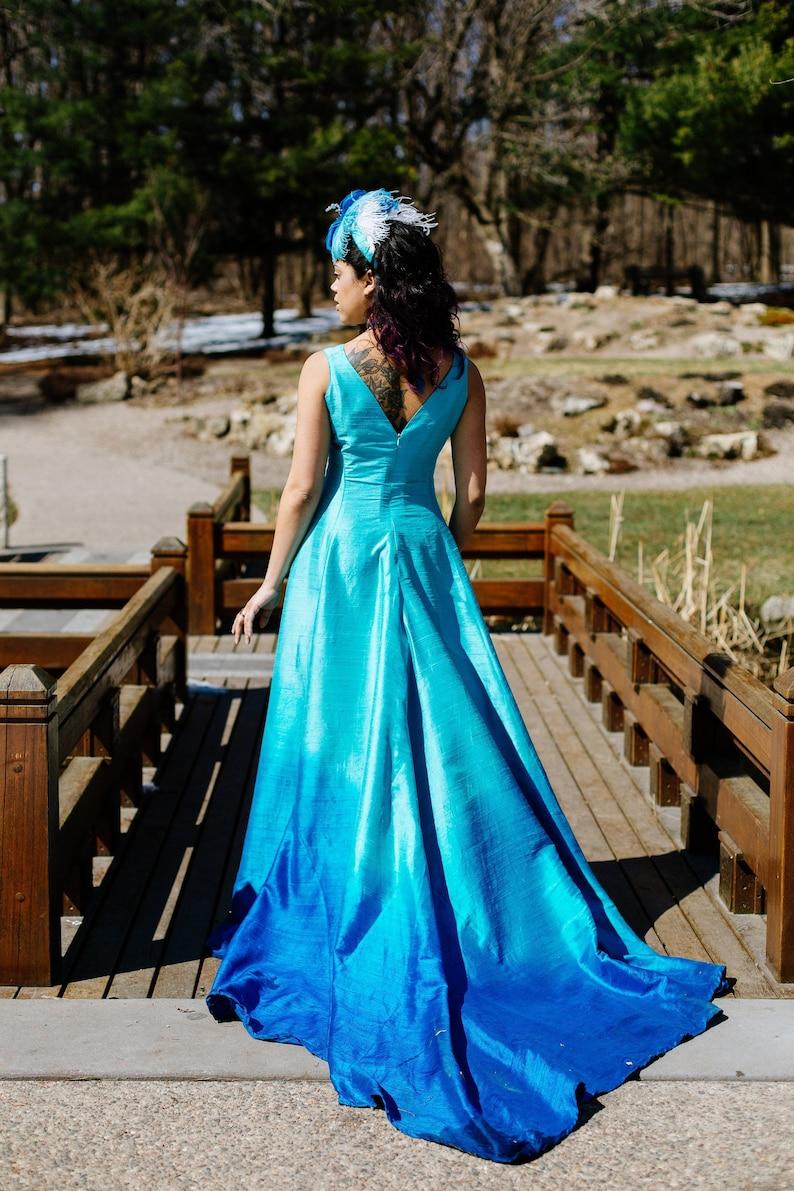 Tropical Sea Gown Beach Wedding Dress Unique Wedding Blue Ombre Wedding Dress Custom Petite Plus Size