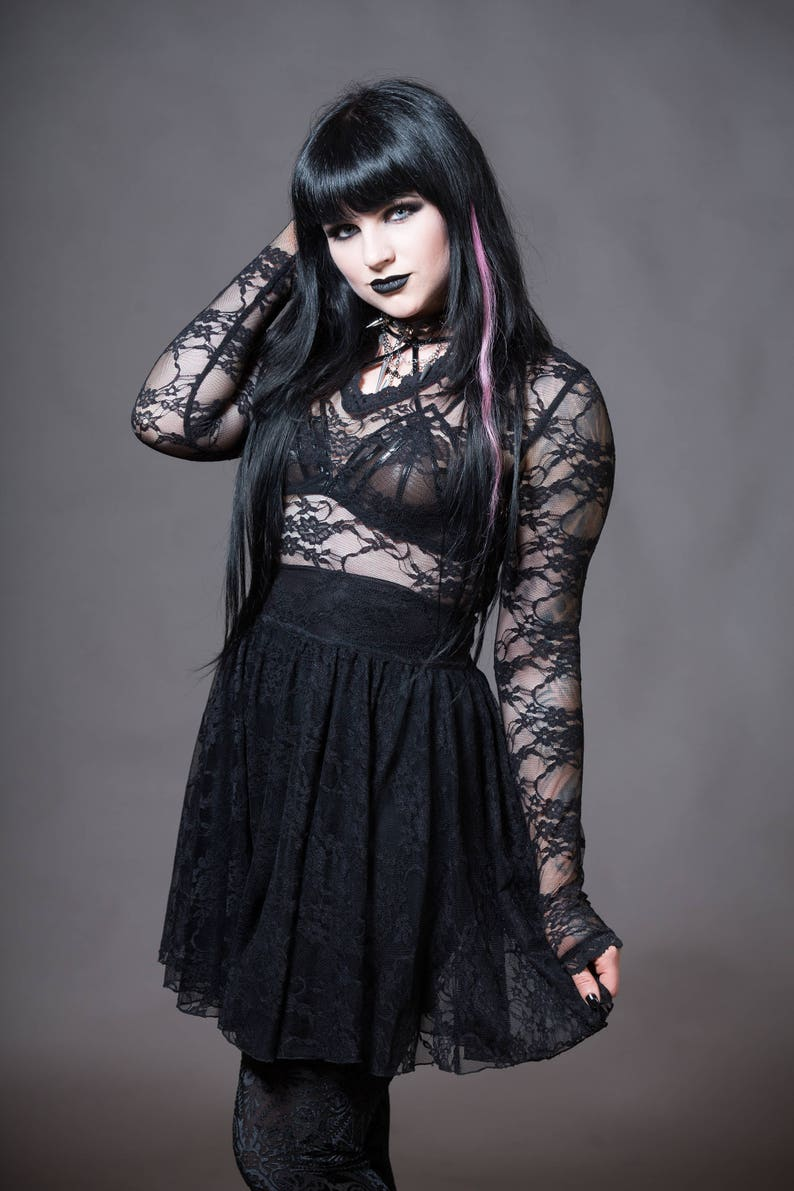 2ee63f4332db7 Lace Gothic Dress Vampire Dress Nu Goth V-Neck Witchy