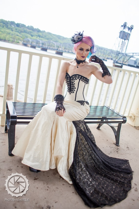 Steampunk Wedding Dresses | Vintage, Victorian, Black Mermaid Wedding Dress - Goth Gothic Bridal Steampunk Gown Halloween Wedding -