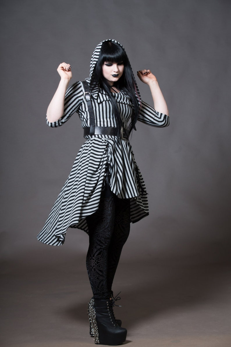 622b7546840 Hooded Gothic Dress Goth Hoodie High Low Skirt Dress Witchy