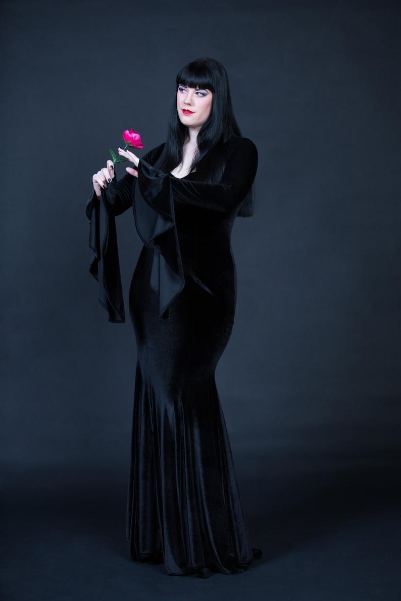 9e47ae5c3433e Morticia Addams Costume Black Velvet Dress Sexy Adult