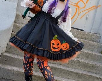 Pumpkin Dress High Waisted Skirt Lolita Cottagecore Spooky Cute Jack o Lantern Halloween Costume Custom to Order Petite to Plus Size