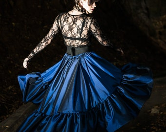 """Steampunk Skirt Occult Pagan Clothing Magic Witchcraft Gothic Navy Blue Asymmetrical Circle """"Ellis Skirt"""" Halloween Costume Petite Plus Size"""