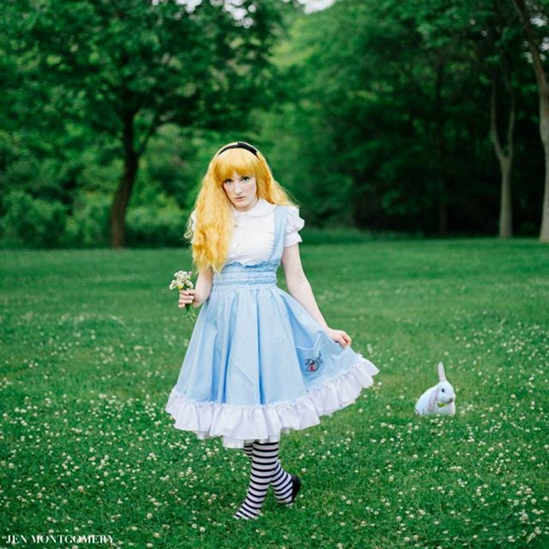 1165170825a2b Alice in Wonderland Dress - Costume Lolita Jumper Fairytale - Adult  Halloween Lewis Carrol - Petite to Plus size - Custom to your size S-5XL