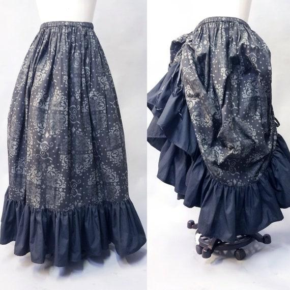 Black Steampunk Skirt Edwardian Side Bustle Skirt Cotton  6d2f27ec78d