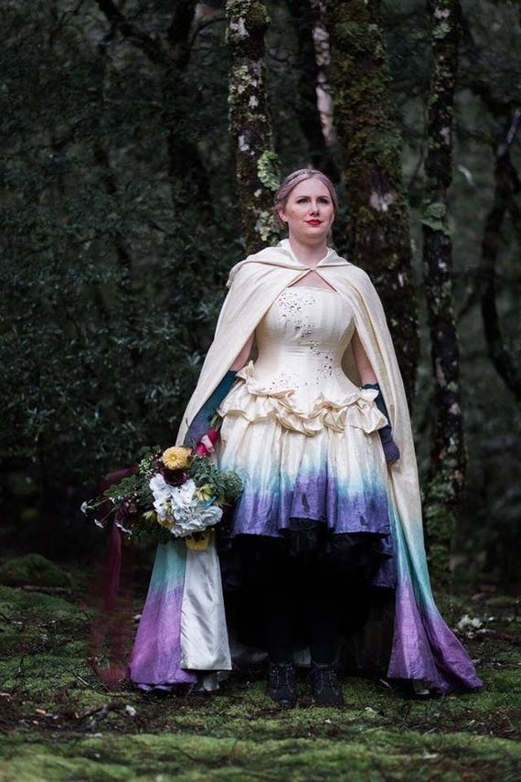 Ombre Fairy Wedding Dress High Low Steampunk