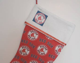 Personalized, Christmas Stocking, Red Sox Stocking, Quilted Stocking, Stocking, Red Sox, Ready to Ship