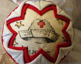 Nurse RN doctor Fabric Quilted ornament SALE