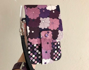 Purple Floral Wallet- Phone Wallet with Card Slots and Zipper- Leather Wrist Strap