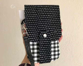 Black and White Hearts and Plaid Wallet- Phone Wallet with Card Slots and Zipper- Leather Wrist Strap