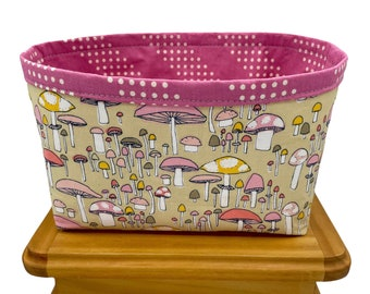 Mushroom Print Fabric Storage Bin, Fabric Basket, Storage Container, Gifts for Teens and Women, Nursery Decor, Gifts for mothers