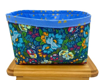 Floral Print Fabric Storage Bin, Fabric Basket, Storage Container, Gifts for Teens and Women, Nursery Decor, Gifts for mothers