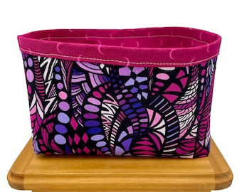 Pink and Purple Print Fabric Storage Bin, Fabric Basket, Storage Container, Gifts for Teens and Women, Nursery Decor, Gifts for mothers
