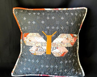 Quilted Butterfly Pillow Case, Woodland Nursery Decor, Woodland Baby Shower gift, gift idea for mom, holiday gift idea for kids