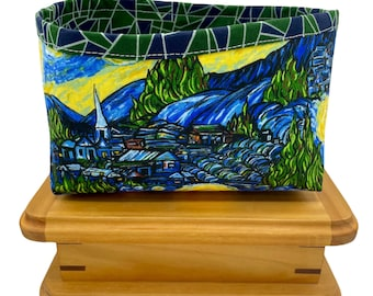 Starry Night Print Fabric Storage Bin, Fabric Basket, Storage Container, Gifts for Teens and Women, Nursery Decor, Gifts for mothers
