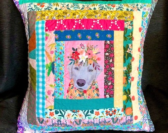 Floral Dog Pillow Cushion Cover, Quilted pillow case, Personalized Pillow Case, Scrappy Quilted Pillow Case, gift idea for children