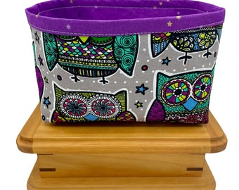 Owl Print Fabric Storage Bin, Fabric Basket, Storage Container, Gifts for Teens and Women, Nursery Decor, Gifts for mothers, Owl Lovers