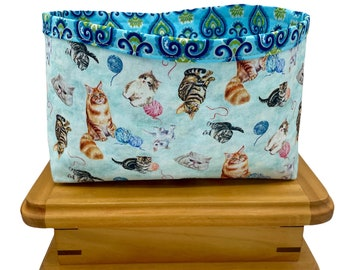 Kitty Cat Print Fabric Storage Bin, Fabric Basket, Storage Container, Gifts for Teens and Women, Nursery Decor, Gift for mothers, Cat Lovers