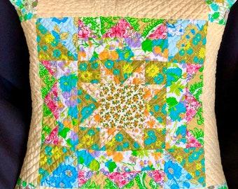 Vintage Floral Pillow Cushion Cover, Nova Star Quilted pillow case, Scrappy Quilted Pillow Case, gift ideas for